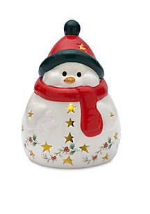 Winterberry Snowman with LED Light