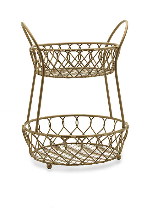 Mikasa Gourmet Basics Lattice Two-Tier Matte Gold Countertop