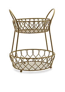 Mikasa Gourmet Basics Lattice Two-Tier Matte Gold Countertop Basket