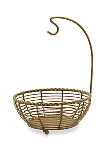 Mikasa Gourmet Basics Rope Matte Gold Fruit Basket With Banana Hanger