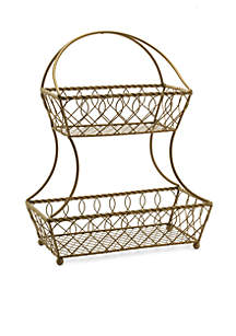 Gourmet Basics Loop And Lattice Matte Gold Two-Tier Basket