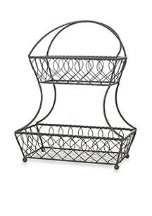 Mikasa Gourmet Basics Loop And Lattice Two-Tier Gray Basket