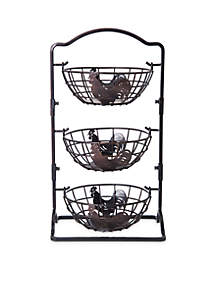 Rooster 3-Tier Hanging Baskets