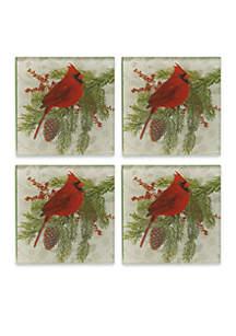 Cardinal Set of 4 Coasters