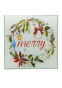 Watercolor Christmas Square Platter