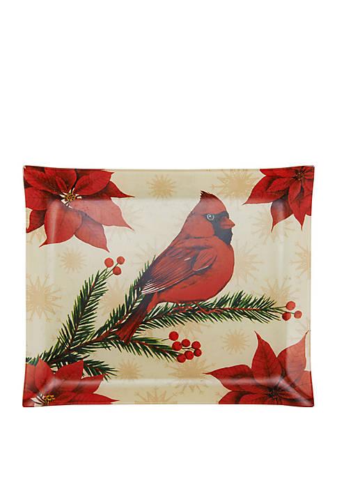 Holiday Wintertime Birds Glass Platter