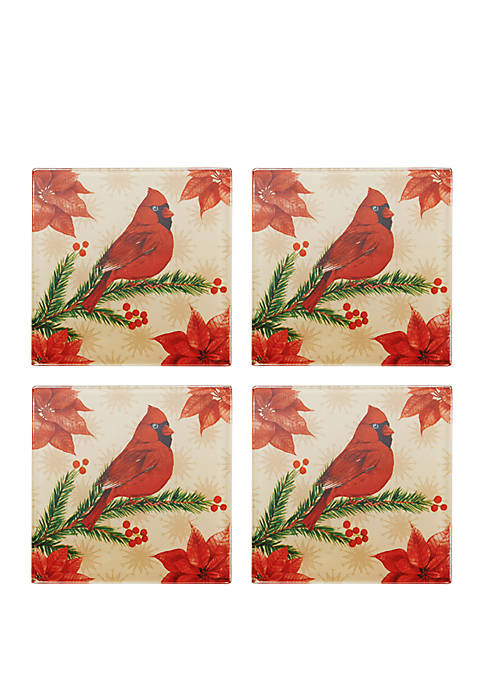 Pfaltzgraff Set of 4 Holiday Wintertime Birds Coasters