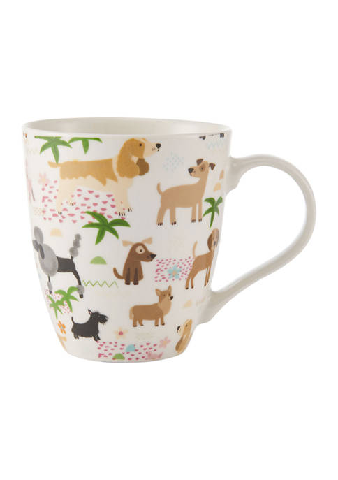 Barrel Porcelain Mug with Dogs, 18 Ounce