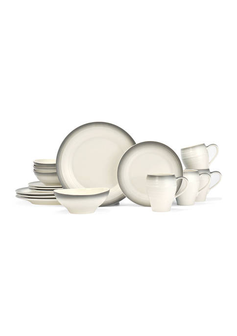Swirl Ombré Graphite 16-Piece Dinnerware Set