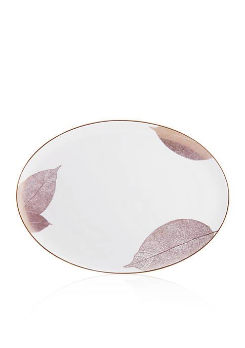 Adelynn Gold Leaf Oval Platter 14-in. x 10.5-in.