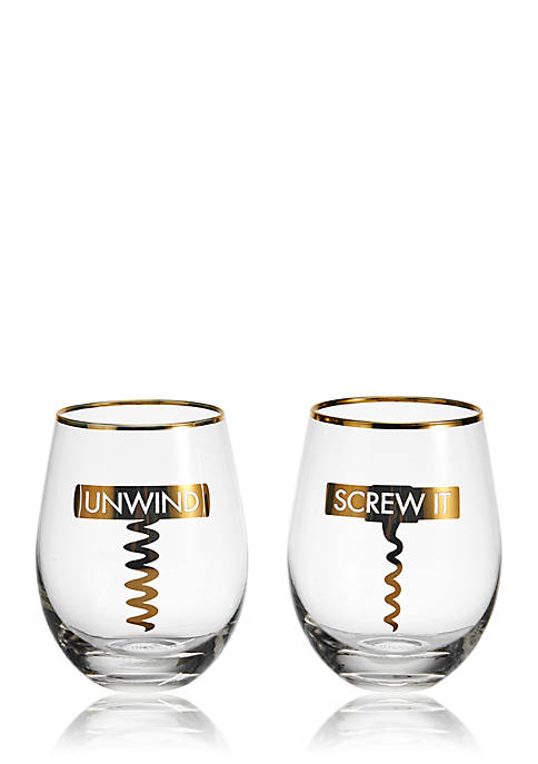 Mikasa Stemless Gifts Corkscrew Stemless Wine Glasses