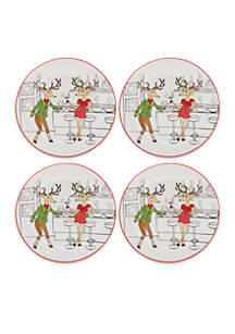 Reindeer Set of 4 Snack Plates