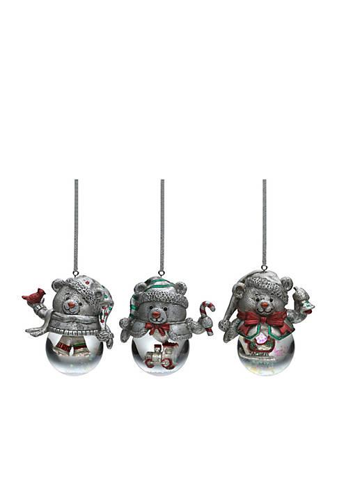 Celebrations by Mikasa Teddy Bear Snow Globe Ornaments