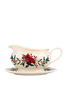 Winter Greetings Cardinal Gravy Boat and Stand