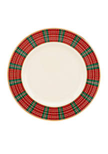 Winter Greetings Plaid Salad Plate