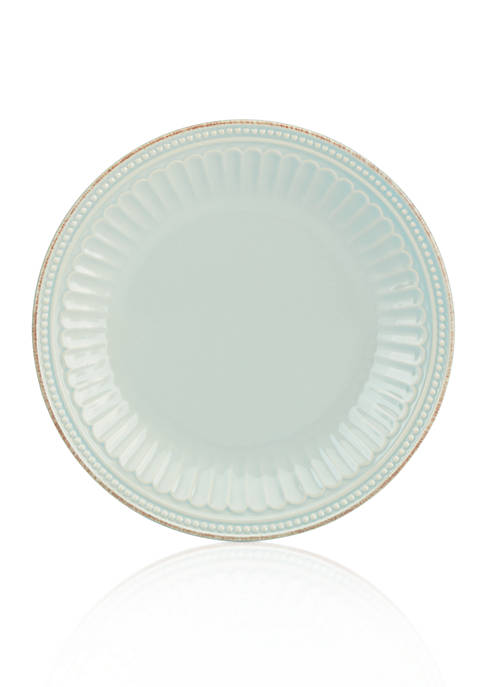 French Perle Groove Ice Blue Dinner Plate