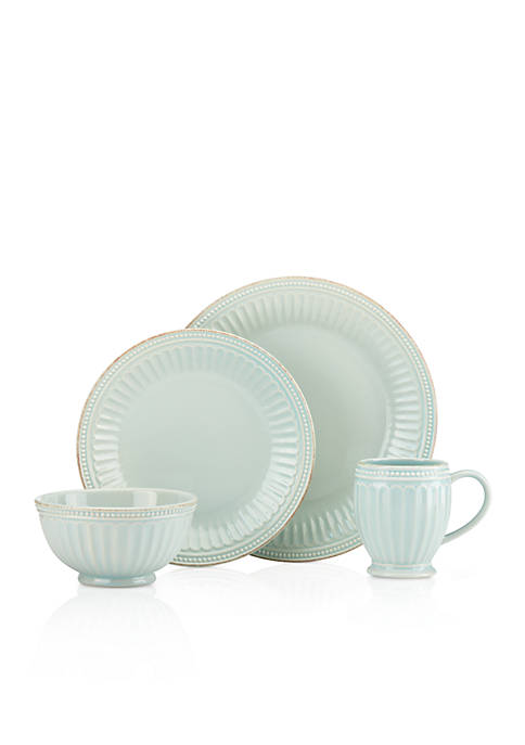 French Perle Groove Blue 4 piece Place Setting