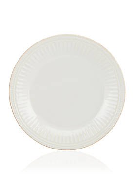 French Perle Groove White Dinner Plate