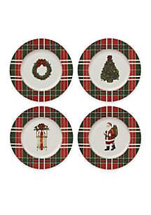 Set of 4 Vintage Plaid Accent Plates