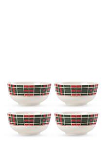 Set of 4 Vintage Plaid Bowls