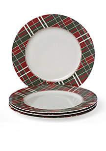 Set of 4 Vintage Plaid Dinner Plates