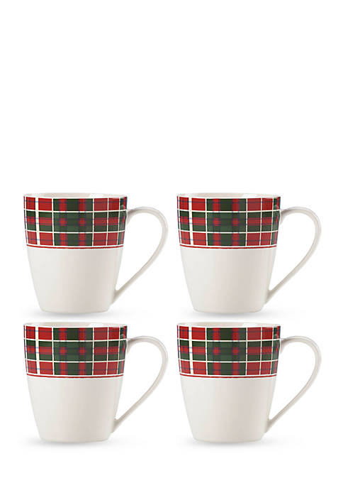 Lenox® Set of 4 Vintage Plaid Mugs