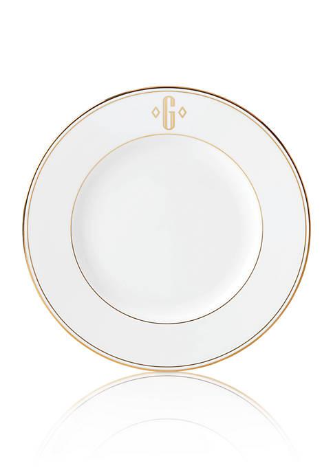 Federal Gold Block Monogram Dinner Plate