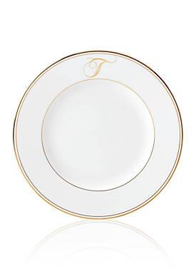 Federal Gold Script Monogram Dinner Plate