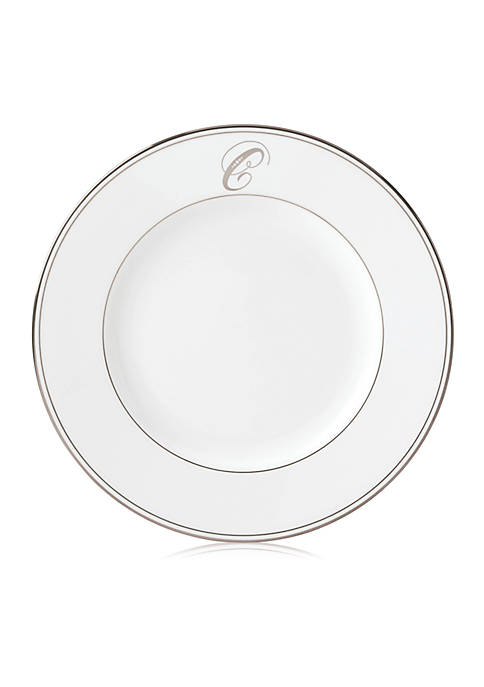 Federal Platinum Script Monogram Dinner Plate