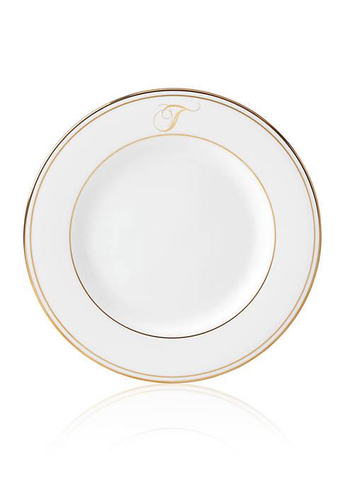Federal Gold Script Monogram Salad Plate