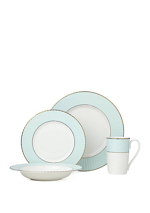 4 Piece Pleated Aqua Dinnerware Collection