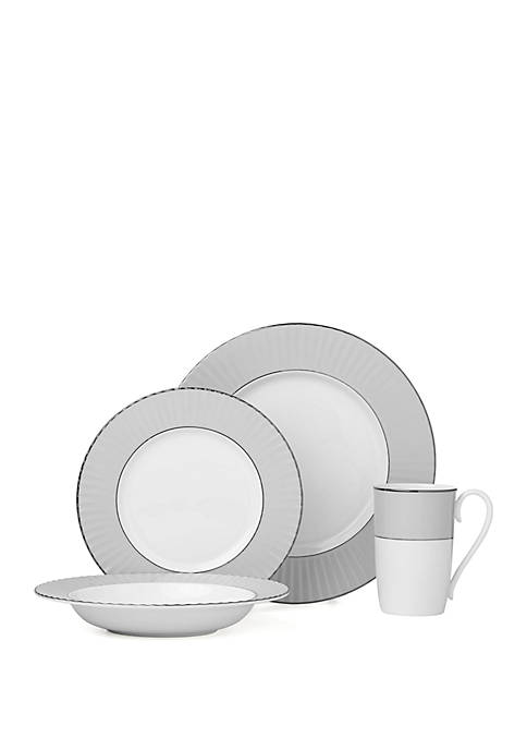 4 Piece Pleated Colors Gray Dinnerware Collection