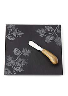 Alpine Pinecone Slate Cheeseboard with Knife
