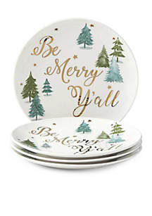 Balsam Lane Be Merry Ya'll Appetizer Plate, Set of 4