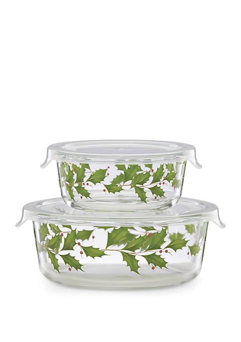 Lenox® Holiday Glass Food Storage Bowls Set of