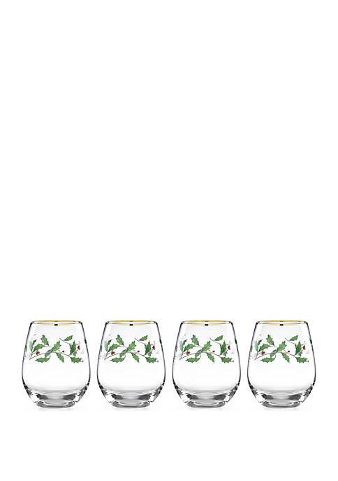 Lenox® Holiday Stemless Wine Glass Set of 4
