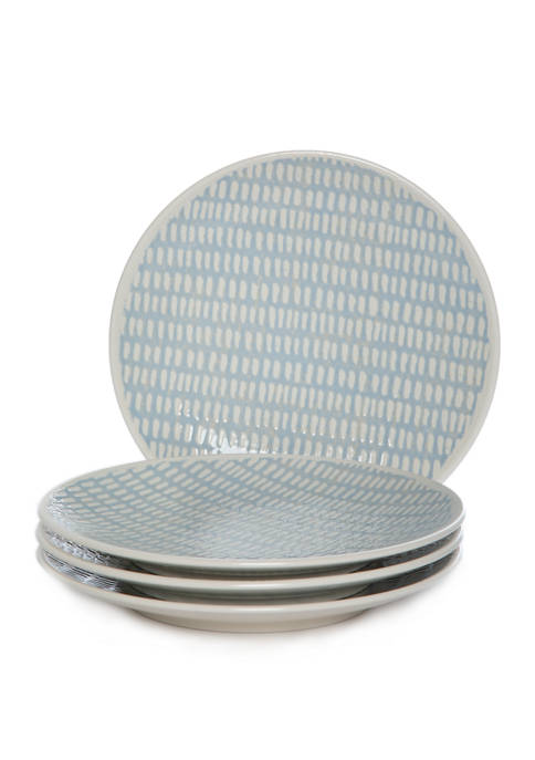Set of 4 Textured Neutrals Accent Plates