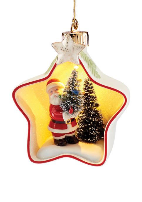 Lenox® Lit Santa Star Scene Ornament