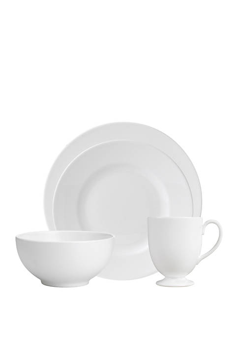 4 Piece White Dinnerware Set