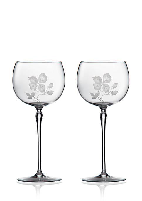 Wild Strawberry Glass Goblet Pair 11.8-oz.