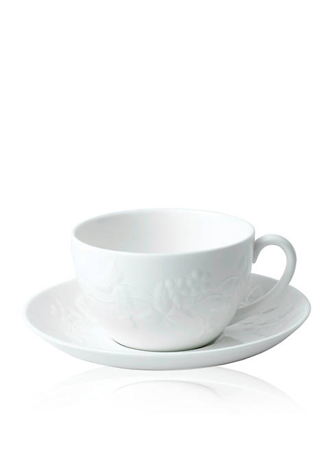 Wedgwood Wild Strawberry White Teacup & Saucer Set