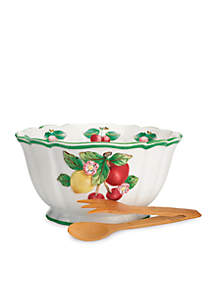 French Garden Figural Salad Bowl with Tongs 10.75-in.