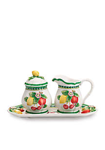 French Garden Figural Sugar and Creamer with Tray
