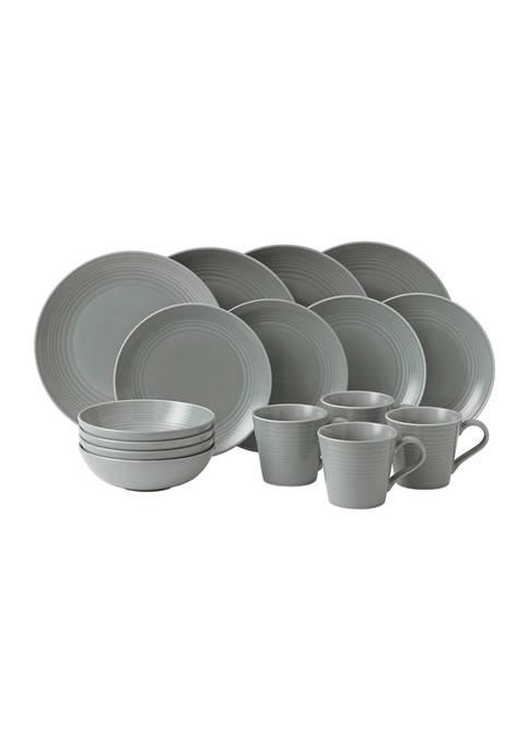 Gordon Ramsay Dark Gray 16-Piece Dinnerware Set