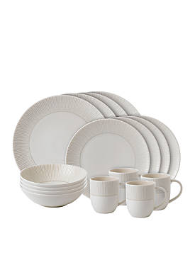 ED ELLEN DEGENERES CRAFTED BY ROYAL DOULTON Taupe Stripe 16-Piece Set