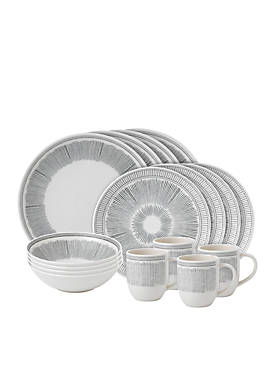 ED ELLEN DEGENERES CRAFTED BY ROYAL DOULTON Charcoal Gray Lines 16-Piece Set
