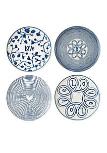 ED ELLEN DEGENERES CRAFTED BY ROYAL DOULTON Blue Love 8-in Plates Mixed, Set of 4