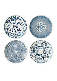 ED ELLEN DEGENERES CRAFTED BY ROYAL DOULTON Blue Love 6-in Plates Mixed, Set of 4