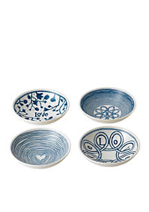 ED ELLEN DEGENERES CRAFTED BY ROYAL DOULTON Blue Love 5.5-in Bowls Mixed, Set of 4
