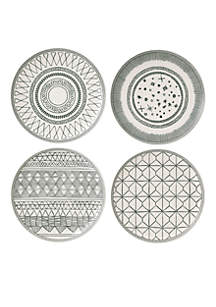ED ELLEN DEGENERES CRAFTED BY ROYAL DOULTON Charcoal Gray 8-in. Plate Mixed, Set of 4